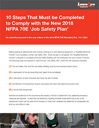 10 Steps That Must be Completed to Comply with the New 2018 NFPA 70E 'Job Safety Plan'