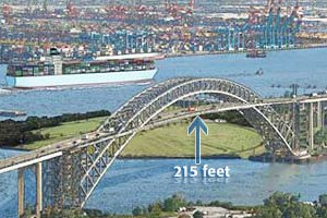 This image shows the bridge deck as it will look when raised to a height of 215 feet, a project that has won approval from the U.S. Coast Guard. (Port Authority of New York & New Jersey photo)