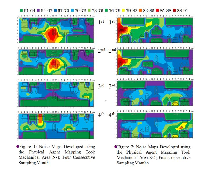 A visual assessment of the monthly noise maps for each area indicated variation in sound levels over this four-month period. Examples of these maps are shown in Figures 1 and 2, which display the temporal change in noise levels over the four-month sampling endeavor. (Dow Chemical graphic)