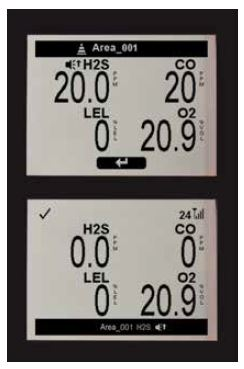These images show readings for two area monitors. The top monitor, within the confined space, is in alarm because of high H2S levels. The bottom monitor, which is near the attendant, shows a peer alarm indicating there is high H2S in Area_001. (Industrial Scientific Corporation photo)